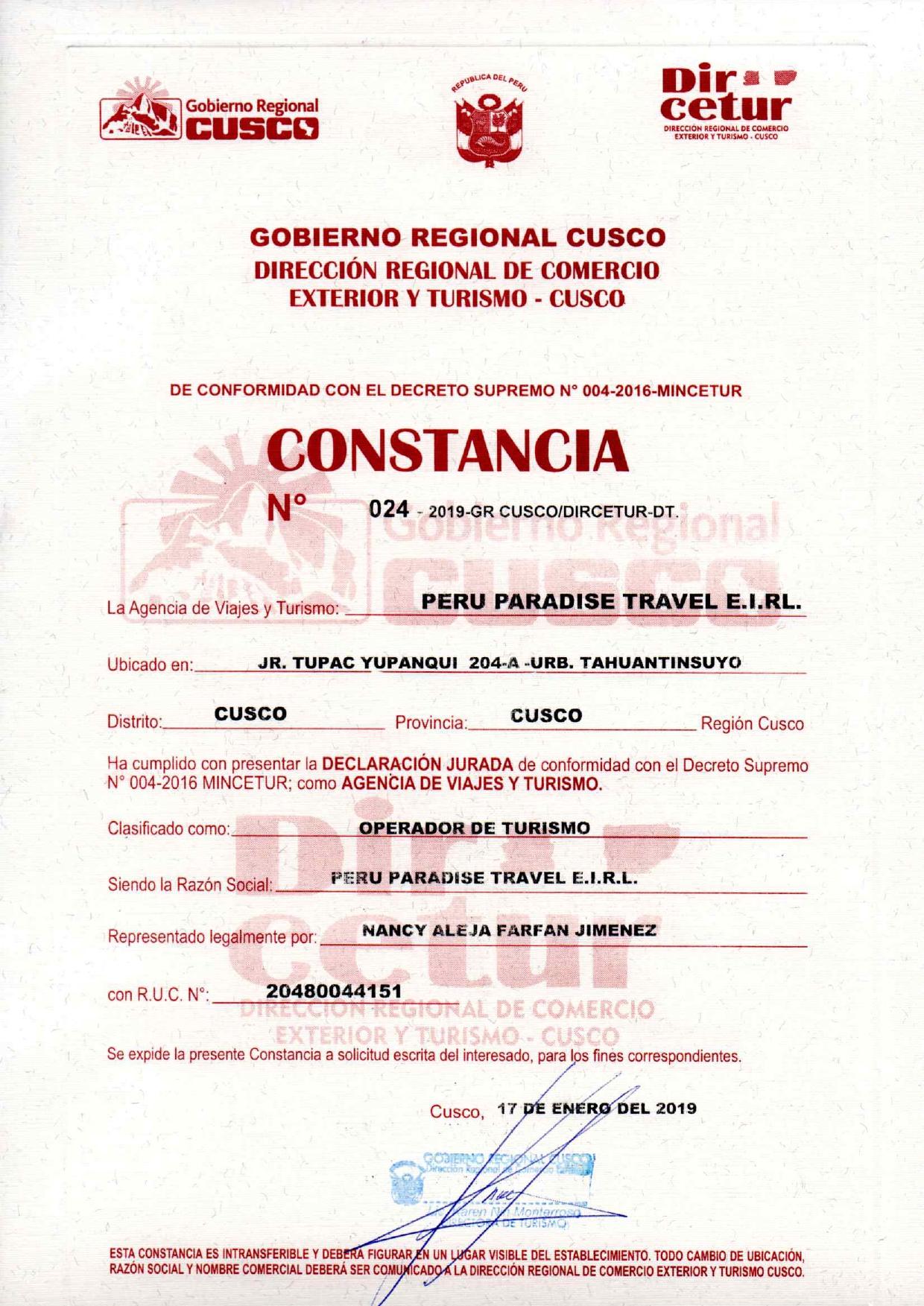 RECORD DE DIRCETUR