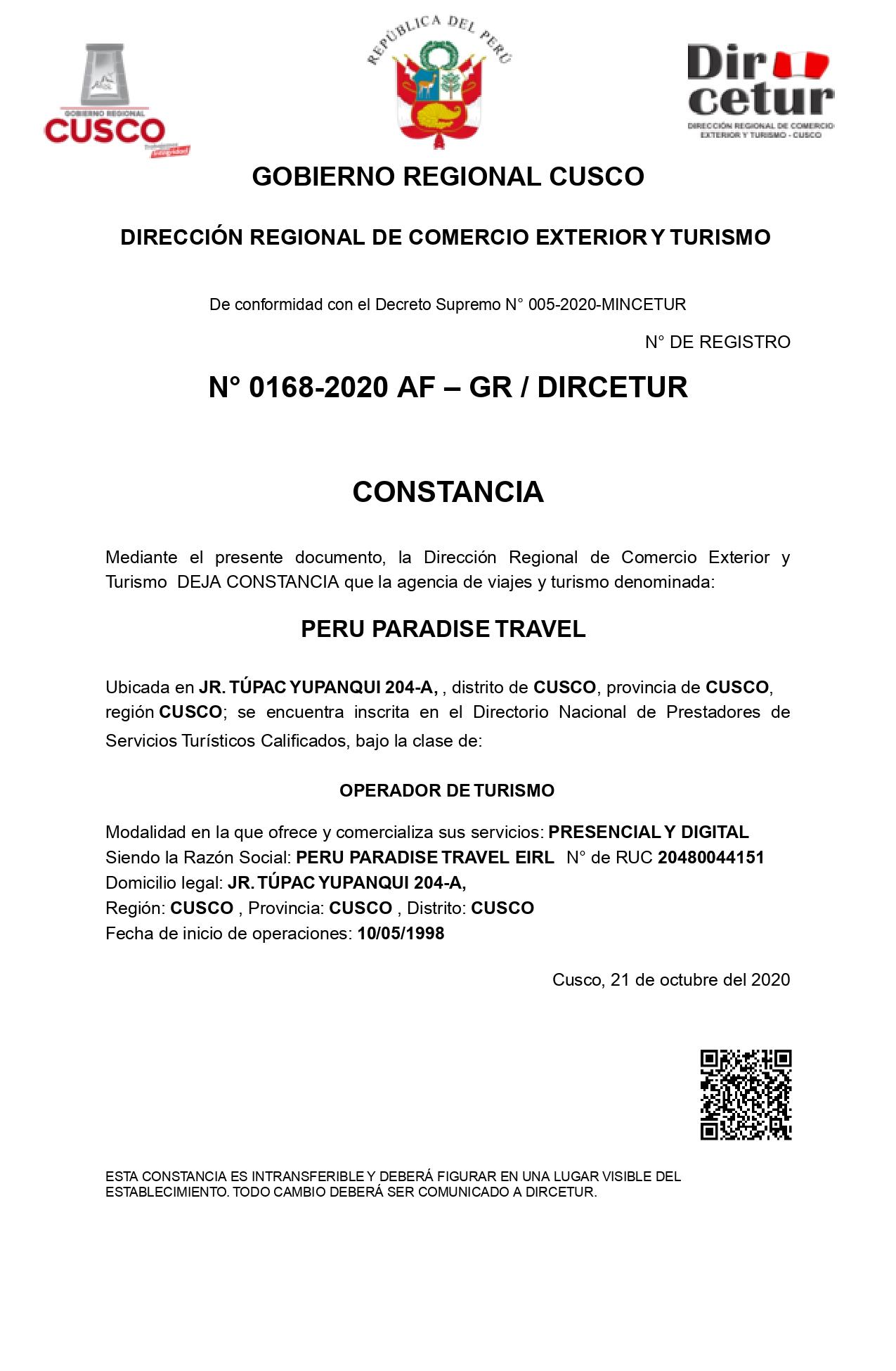Certificat de services touristiques